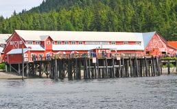 Alaska pekar den Icy straiten det Hoonah emballageföretaget Royaltyfria Foton