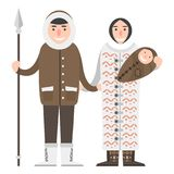 Alaska people couple flat style vector america travel national characters geographic outdoor wildlife north arctic. Alaska people couple flat style vector Royalty Free Stock Photography