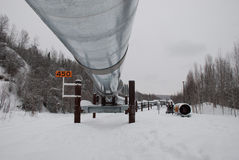 Alaska Pipeline. Running through the forest Stock Photo