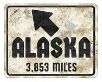 Alaska Podpisuje Roadsign z mily zabawy północy grunge ilustracja wektor