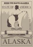 Alaska podróży amerykański sztandar Plakat z niedźwiedziem polarnym w rocznika stylu Zdjęcie Royalty Free