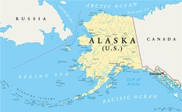 Alaska Political Map. US State Alaska Political Map with capital Juneau, national borders, important cities, rivers and lakes. English labeling and scaling stock illustration
