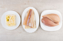 Alaska pollock fillets, jelly with squid and chicken breast Royalty Free Stock Photography