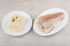 Alaska Pollock fillets, jelly with squid Stock Images