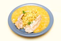Alaska pollock with mango sauce Royalty Free Stock Image