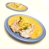 Alaska pollock with mango sauce Stock Photo