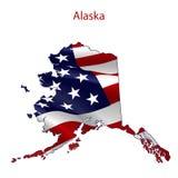Alaska por completo de la bandera americana Fotografía de archivo