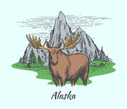 Alaska poster with moose and mountains Stock Photography
