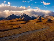 Denali Braided Rivers Leading from Mountains Stock Photos