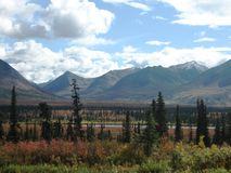 Alaska Range in the fall. Fall view of Alaska Mountain Range Stock Photo