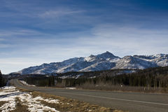 Alaska Range and Highway in Healy Alaska. The Alaska Range dominates the landscape near Healy, Alaska Stock Image