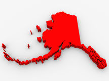Alaska Red Abstract 3D State Map United States America. A red abstract state map of Alaska, a 3D render symbolizing targeting the state to find its outlines and Stock Photos
