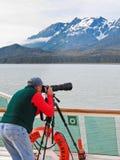 Alaska-Reiseflug innerhalb der Durchführungs-Fotografie Stockfoto