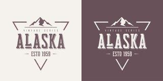 Alaska rocznika odzieży i koszulki stan textured wektorowy projekt, ilustracja wektor