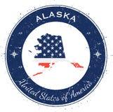 Alaska runt patriotiskt emblem vektor illustrationer