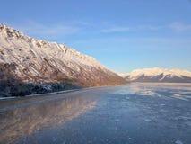 Chugach mountains of Alaska. Alaska`s beautiful Chugach mountains in the cold winter months on a sunny day stock photos