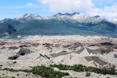 Alaska - sand-covered glacier - Wrangell St. Elias National Park. Glacier - sand-covered with mountains - Wrangell St. Elias National Park - McCarthy - Alaska royalty free stock photography