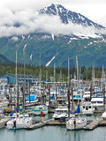 Alaska Seward małej łódki schronienia rezurekci szczyty fotografia stock