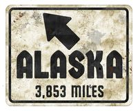 Alaska Sign Roadsign with miles fun north grunge. Denali state direction arrow highway national parks Canada old antique vector illustration