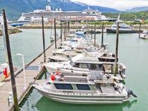 Alaska Skagway kartlägger den små fartyghamnen Royaltyfria Bilder