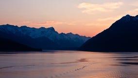 alaska solnedgång Arkivfoto