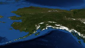 Alaska from space slow zoom. Alaska from space - slow zoom stock footage