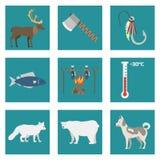 Alaska stanu symboli/lów mieszkania stylu America podróży wektorowej zwierzęcej krajowej geograficznej plenerowej przyrody północ Ilustracja Wektor