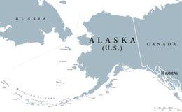 Alaska stanu usa polityczna mapa Zdjęcia Stock