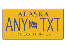 Alaska State license plate vector. A scalable vector illustration of the Alaska state license plate, EPS file, with editable text Royalty Free Stock Photos