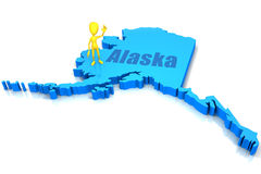 Alaska state outline with yellow stick figure Stock Photos