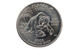 Alaska State Quarter Coin Royalty Free Stock Photo