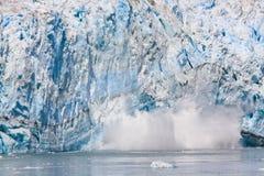 Alaska Sun Lit Calving Glacier Ice Stock Image