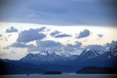 Alaska sunrise over mountains stock photo