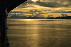 Alaska sunset on cruise ship Royalty Free Stock Photos