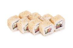 Alaska sushi. Isolated on a white background Royalty Free Stock Photography