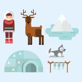 Alaska symbols vector illustration. Alaska state symbols flat style. Abstract tessellation modern design. Vector america travel animal national geographic Stock Photo