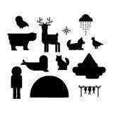Alaska symbols vector illustration. Alaska state symbols flat style. Abstract tessellation modern design. Vector america travel animal national geographic Stock Image