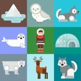 Alaska symbols vector illustration. Alaska state symbols flat style. Abstract tessellation modern design. Vector america travel animal national geographic Stock Photos