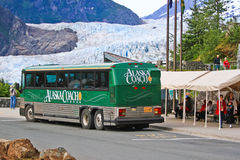 Alaska - Tour Bus at Mendenhall Glacier 2 Royalty Free Stock Images