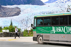 Alaska - Tour Bus at Mendenhall Glacier Royalty Free Stock Images