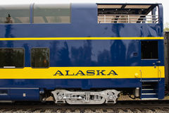Alaska Train Car. Side view of an Alaskan train car Stock Images