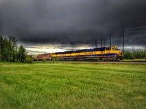 Alaska train. During a storm Royalty Free Stock Photos