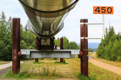 Alaska - Trans-Alaska Pipeline Supports. A view of unique supports that hold up up the famous historic Trans-Alaska pipeline at the Pipeline Visitors Center just Stock Image