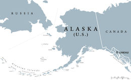 Alaska US state political map Stock Photos