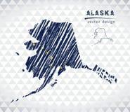 Alaska-Vektorkarte mit dem Flaggeninnere lokalisiert auf einem weißen Hintergrund Gezeichnete Illustration der Skizzenkreide Hand Lizenzfreie Stockfotos