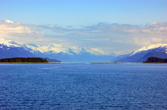 Alaska view. A spectacular view of alaska's mountain, water and snow Stock Image