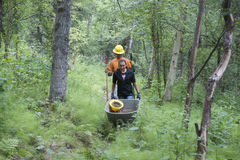 Alaska Wilderness Trail Construction. Alaska Department of Fish and Game Refuge Manager Doug Hill oversees volunteers during Alaska Wetlands Wilderness Trail Stock Image