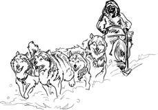 Alaskabo slädehundkapplöpning Vektor Illustrationer