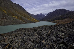 Alaskan Back Country Lake. A glacier fed lake in the Alaskan back country during a beautiful fall day Stock Photo