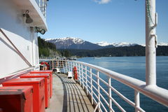 Alaskan Ferry. View from the deck of an Alaskan ferry boat while in port at Auke Bay near Juneau, Alaska stock photos